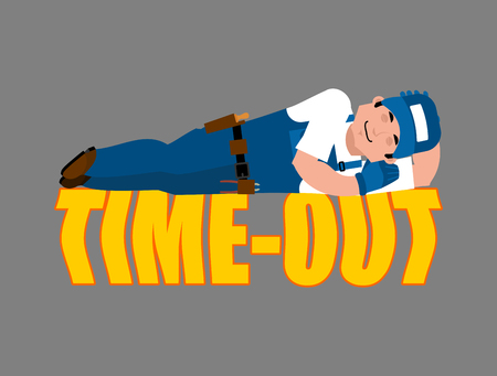 Job Time out. Plumber sleeping isolated. Break in working time. Fitter asleep. Vector illustration