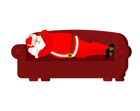 sleeping bags: Santa Claus sleeps on couch. Rest before work. Christmas relaxation. New Year illustration  Illustration