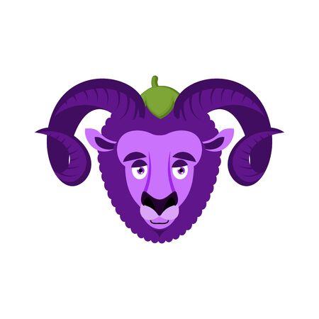 Ram Eggplant. Purple farm animal. Vector illustration