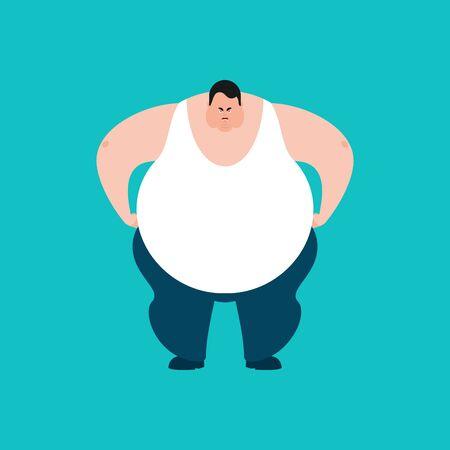 Fat angry. Stout guy evil emoji. Big man aggressive. Vector illustration