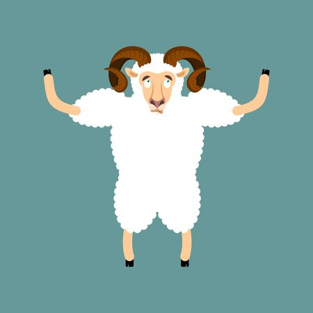 Ram confused emotions. Sheep is perplexed. Farm animal surprise. Vector illustration