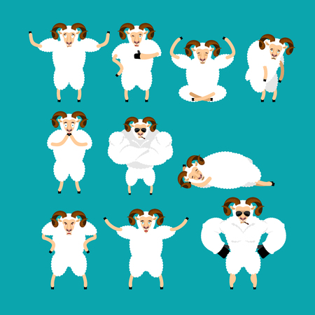 Ram set poses and motion. Farm animal happy and yoga. Sheep sleeping and angry. guilty and sad. Vector illustration Illustration