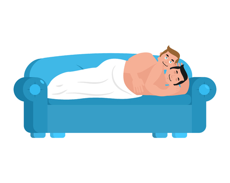 Gay couple in bed. Homosexuals are asleep. Guys under  blanket. LGBT vector illustration