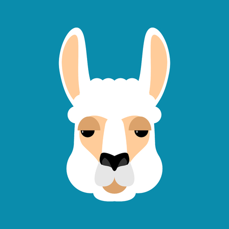 Lama alpaca face avatar on blue background, vector illustration.