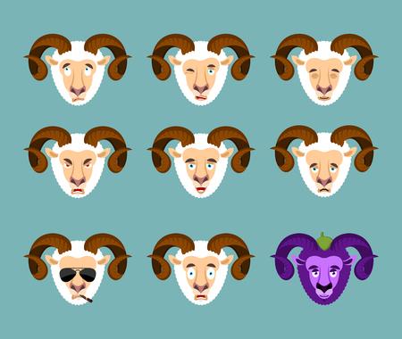 Ram set emotion avatar. sad and angry face. guilty and sleeping. Farm animal sleeping emoji face. Sheep Eggplant. Vector illustration Illustration