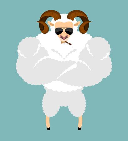 Ram Strong Cool serious. Sheep smoking cigar emoji. Farm animal strict. Vector illustration