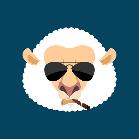 Cool Sheep serious avatar of emotions. Ewe smoking cigar emoji. Farm animal strict. Vector illustration