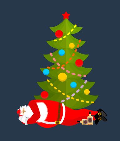 sleeping bags: Santa Claus Sleeping under Christmas tree drinking whiskey. Drunk Sleeping grandfather. Christmas rest. New Year Vector Illustration