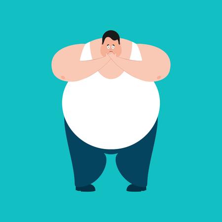 Fat OMG scared. Stout guy Oh my God emoji. Frightened big man, vector illustration.
