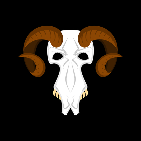 Ram skull isolated. Religion Totem animal symbol. Object for witchcraft. Accessory witch. Vector illustration  Illustration