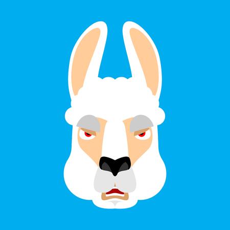 Lama Alpaca angry face avatar. Animal evil emoji. Vector illustration