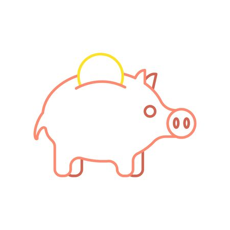 Pig piggy bank and coin linear style. Financial illustration. Accumulation of money. Illustration