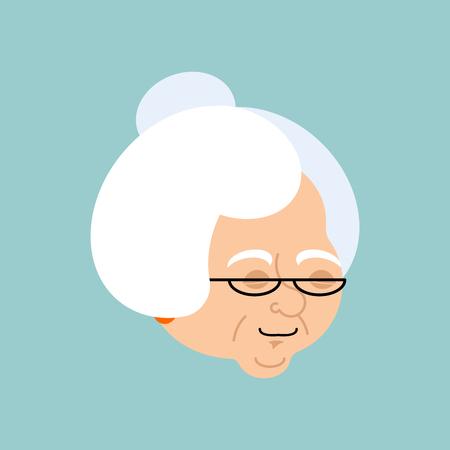 Grandmother sleeping emotion avatar. Face Grandma asleep emoji. Old lady vector illustration. Illustration