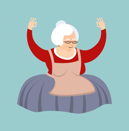 yogi: Grandmother yoga. Grandma yogi isolated. Relaxation and meditation. Old lady vector illustration.
