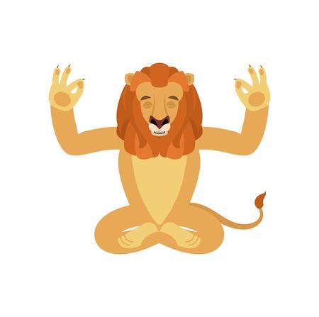 Lion yoga. Wild animal yogi isolated. beast Relaxation and meditation. Vector illustration Çizim