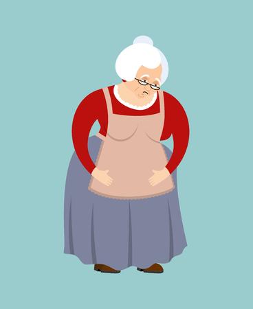 wrinkly: Grandmother sad emoji. Face grandma sorrowful isolated. Old lady vector illustration. Illustration