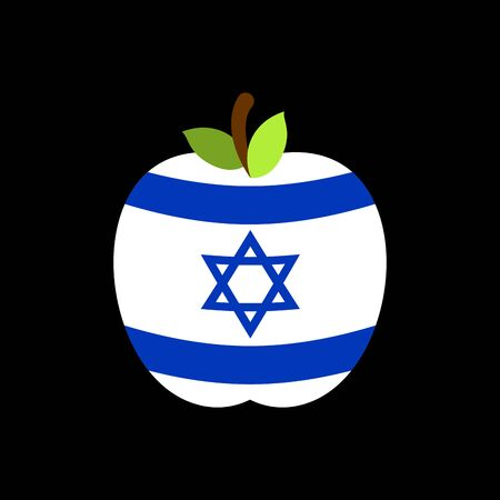 Apple Israel flag. Israeli National Fruit. Vector illustration  Illustration
