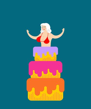 Striptease Girl from cake congratulation. vector illustration