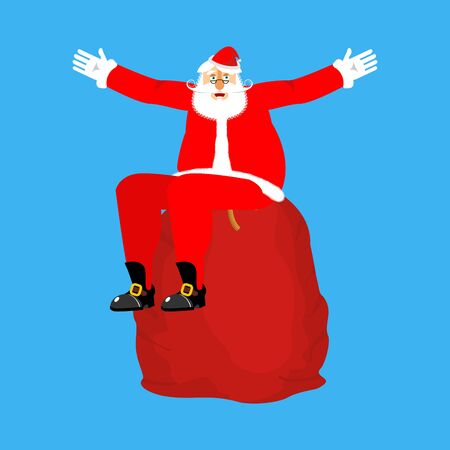 Santa Claus sitting on red bag isolated. Christmas and New Year Vector Illustration
