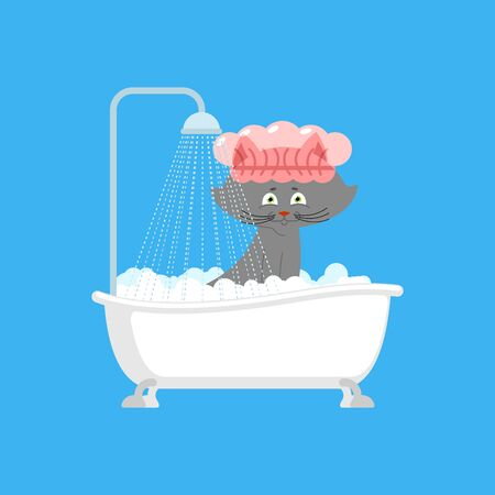 Cat in bath. Pet is washed. Vector illustration