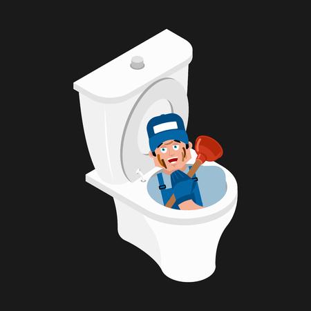 Plumber in toilet and plunger. Service of WC. Vector illustration