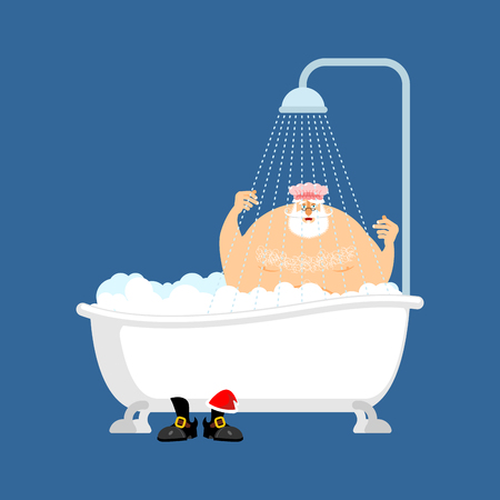 Santa Claus in bath. Christmas grandfather washes. New Year Vector Illustration