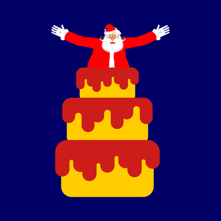 Santa Claus from cake. Christmas congratulations. New Year Vector Illustration