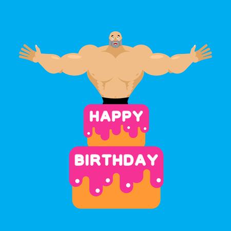 Happy Birthday Cake Stripper From Cake Congratulation Vector