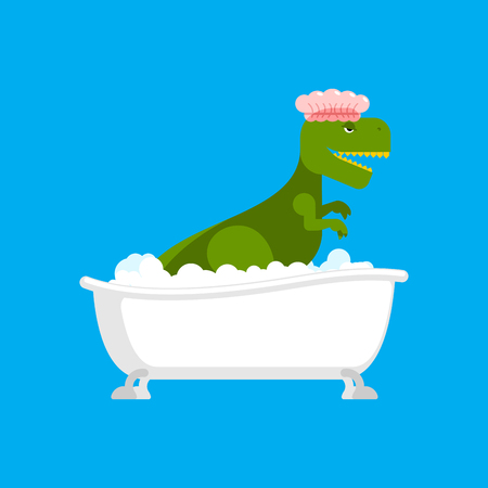 Dinosaur in bath. Dino washes. Ancient Tyrannosaurus Lizard. Big green monster in shower cap. Vector illustration