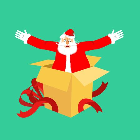 Santa Claus from open gift box. Congratulations and Surprise. Christmas and New Year Vector Illustration  Illustration