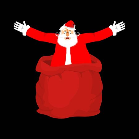 Santa Claus from open red bag. Christmas and New Year Vector Illustration