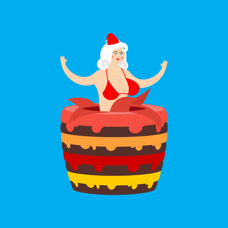 Santa girl from cake. Striptease congratulation. New Year and Christmas vector illustration
