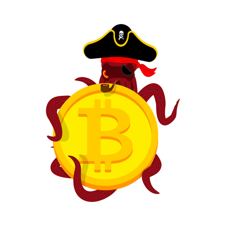 Octopus Web Pirate and bitcoin. Hacker. Thief and crypto currency. Steal virtual money. Vector illustration