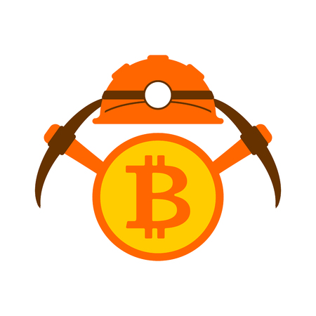 Miner logo. Mining Bitcoin Crypto Currencies. Worker with pickaxe. Vector illustration