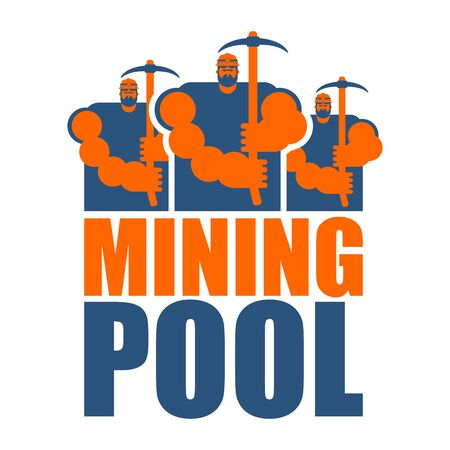Mining pool logo. Extraction of Bitcoin Crypto Currencies. Worker with pickaxe. Vector illustration