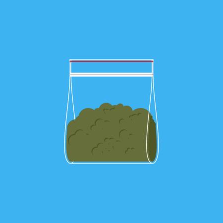 Marijuana plastic bag isolated. Drugs  in sachet. Vector illustration