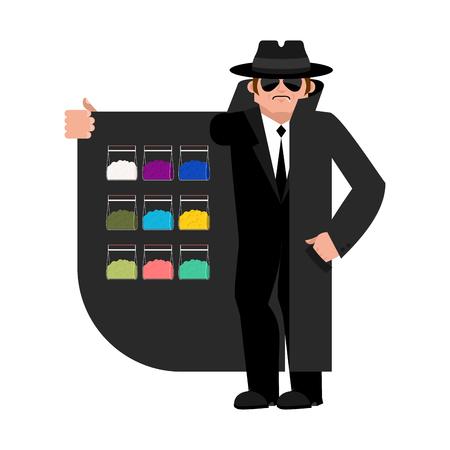 Smuggler selling Drugs. Cocaine and marijuana. Cloak-seller isolated. Dealer in hat and coat . Bootlegger. Seller prohibited goods of black marke. Legitimate trade. Vector illustration