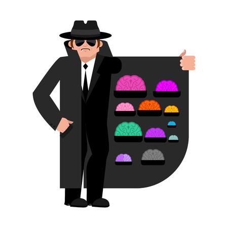 Smuggler selling Brains. Cloak-seller isolated. Dealer in hat and coat . Bootlegger. Seller prohibited goods of black marke. Legitimate trade. Vector illustration