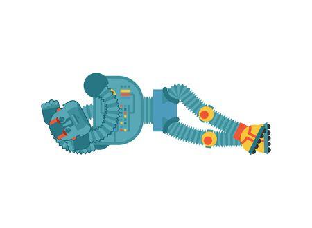 Robot sleeping. Cyborg asleep emotions. Robotic man dormant. Vector illustration