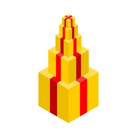 Gift pyramid isolated. Lot of gift box. Vector illustration