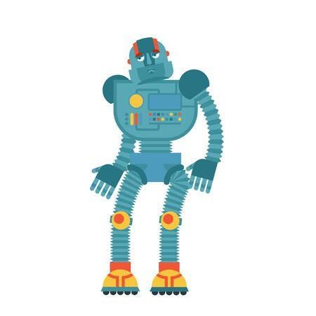 Robot sad. Cyborg sorrowful emotions. Robotic man dull. Vector illustration