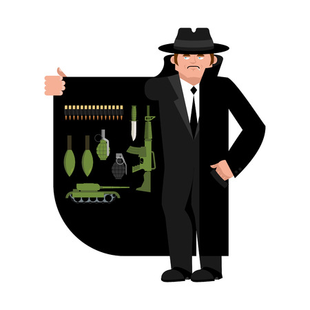 Smuggler selling weapon. Gun and warheads. Ammunition and grenade. Cloak-seller isolated. Dealer in hat and coat . Bootlegger. Seller prohibited goods of black marke. Legitimate trade. Vector illustration