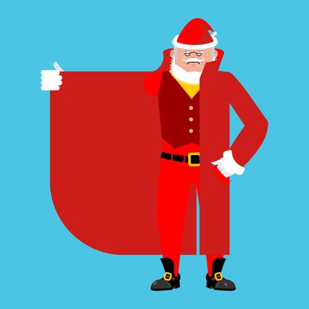 Santa Claus Smuggler selling something template. Cloak-seller isolated. Dealer in hat and coat . Bootlegger. Seller prohibited goods of black marke. Legitimate trade. Vector illustration