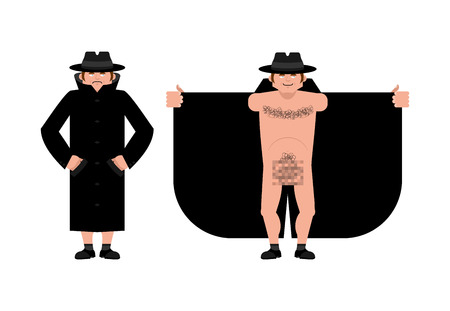 Exhibitionist open coat isolated. publicly expose the intimate parts of his body. Vector illustration Stock Illustratie