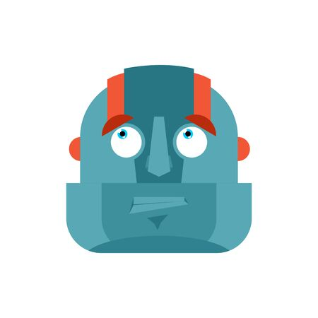 Robot confused emoji oops face avatar. Cyborg perplexed emotions. Robotic surprise. Vector illustration
