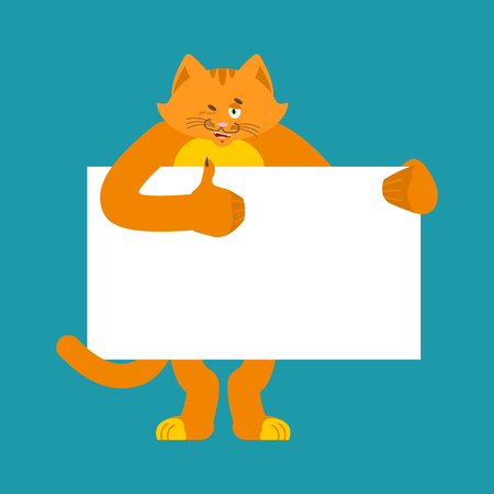 Cat holding banner blank. Pet and white blank. Kitty thumb up and winks joyful emotion. place for text vector illustration. Illustration