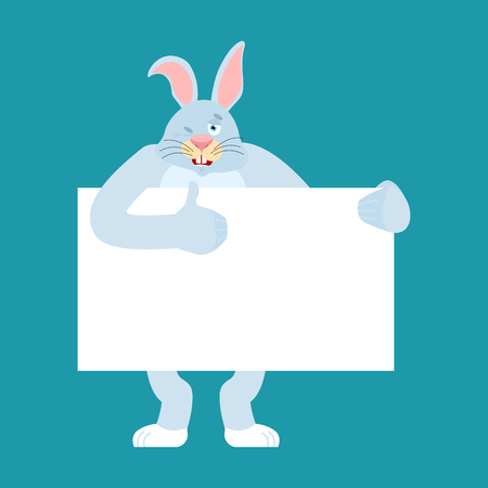 Rabbit holding banner blank. Hare and white blank. Animal thumb up and winks joyful emotion. place for text. Vector illustration Illustration