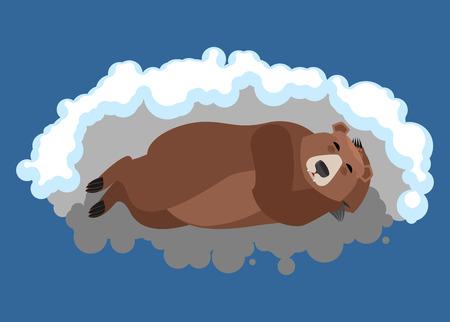 L'orso dorme in tana. Emozioni grizzly addormentate. Bestia selvaggia dormiente. Illustrazione vettoriale Archivio Fotografico - 92854338