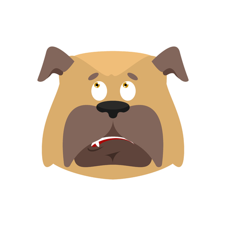 Dog confused expression face avatar.Pet perplexed emotions. Illustration