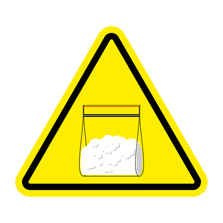 Attention sign Drugs. Cocaine plastic bag isolated. Vector illustration Illustration